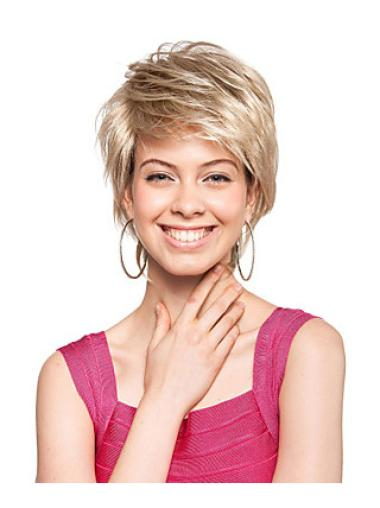 Great Straight Blonde Short Synthetic Capless Wigs