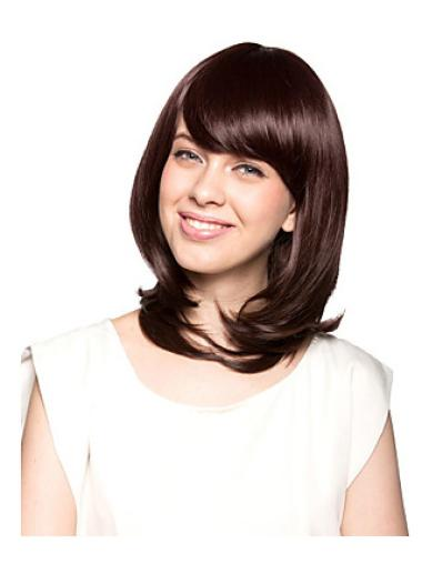 With Bangs 12 Inches Wavy Perfect Synthetic Wigs Cheap Capless