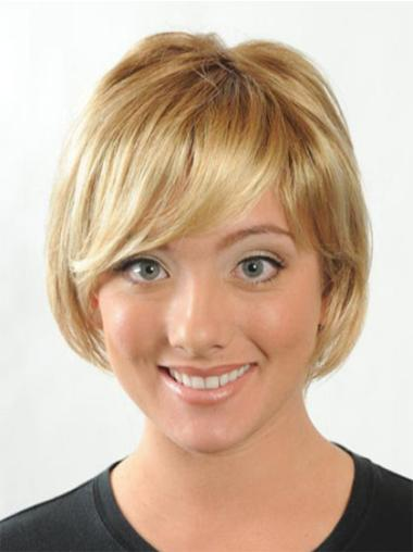 Synthetic 8 Inches Straight Short Blonde Wigs