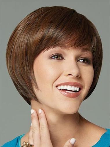 Suitable Capless Short Brown Synthetic Wigs Bob
