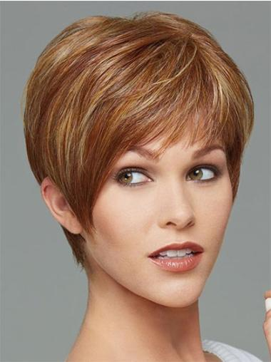 Fashion Cropped Boycuts Brown Synthetic Capless Women'S Wigs