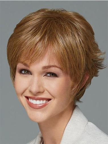 Synthetic Popular Capless Boycuts Short Blonde Wig