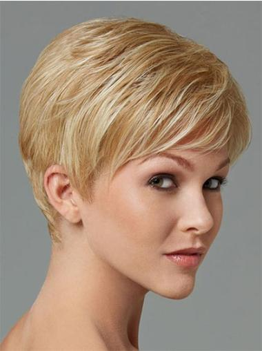 Natural Capless Cropped Boycuts Synthetic Affordable Blonde Wigs