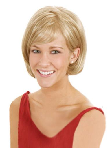 Chin Length Blonde Fabulous Synthetic Straight Lace Front Wigs