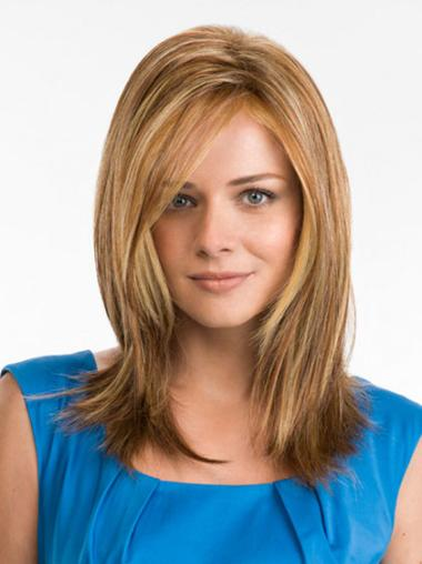 Long Straight Without Bangs Blonde Sleek Hand Tied Synthetic Wigs