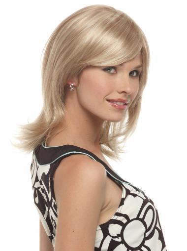 Wavy Layered Designed Synthetic Blonde Medium Length Wigs
