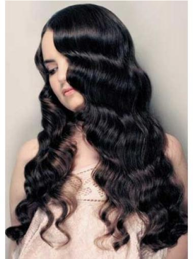 Black Without Bangs Perfect Remy Long Curly Wigs Human Hair