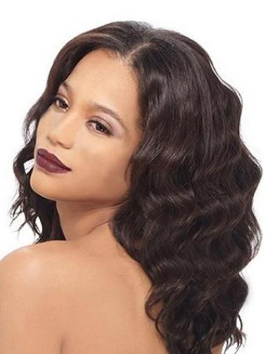 100% Long Human Hair Wigs Auburn Wavy Without Bangs