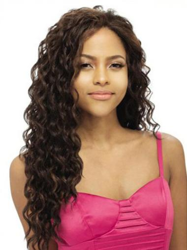 Wavy Brown Long Good Full Human Hair Lace Front Wigs
