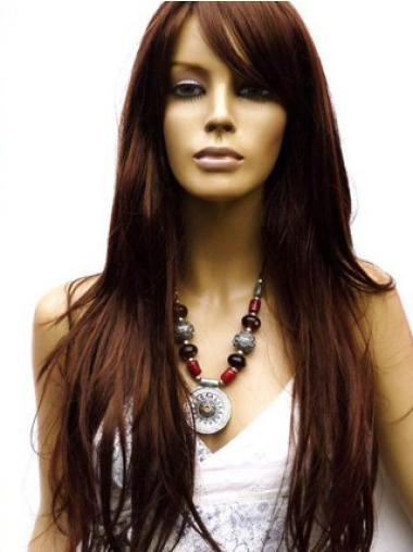 Straight With Bangs Auburn Long Cheapest Extra Long Auburn Human Hair Wig