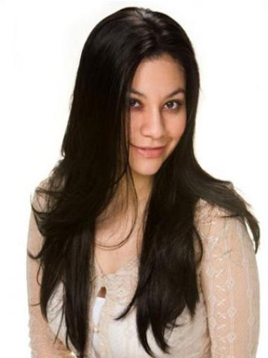 Straight Without Bangs Black Long Cheap Human Hair Wigs For Black