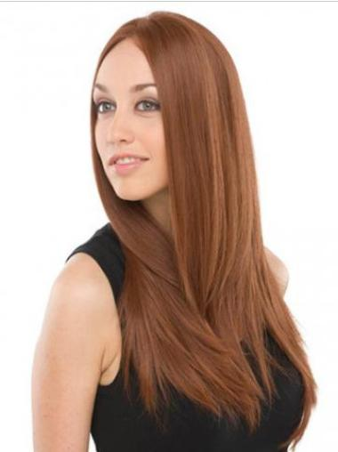 Straight Without Bangs Long Discount Auburn Lace Front Wig Human Hair