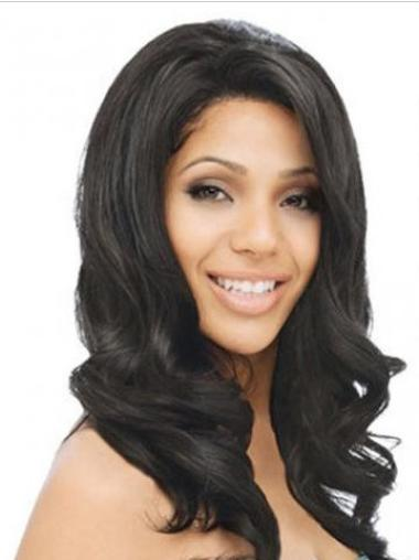 Black Long Best Wavy Human Hair Wigs Without Bangs