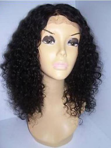Black Shoulder Length Remy Human Hair Lace Front Curly Wigs Without Bangs