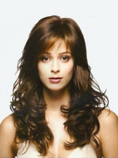 Wavy Brown Long Popular 100% Human Hair Wig With Bangs