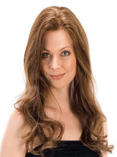 Buy Human Hair Hand Tied Wigs Wavy Brown Long Without Bangs