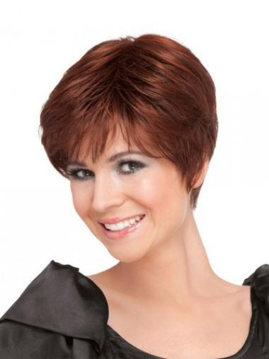 Red Straight Synthetic Designed Short Cut Lace Wigs