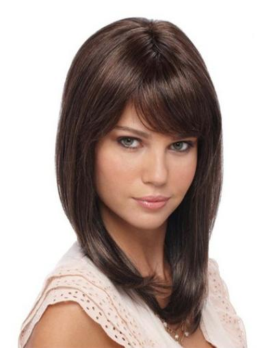 Straight Synthetic Lace Front Flexibility Medium Brown Wig