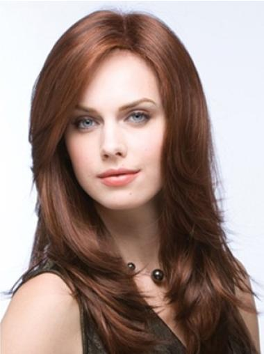 100% Hand-Tied Auburn Layered Long Better Quality Synthetic Wigs