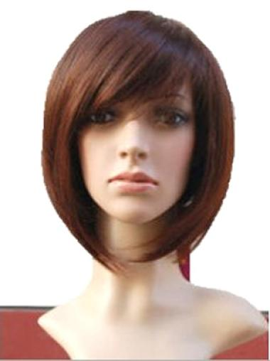 "10"" Straight Bobs Designed Auburn Color Human Hair Wig"