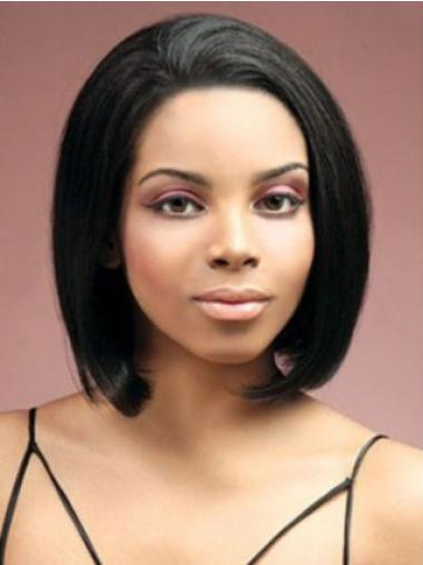 Sleek Lace Front Chin Length Bobs Black Women Real Human Hair Wigs