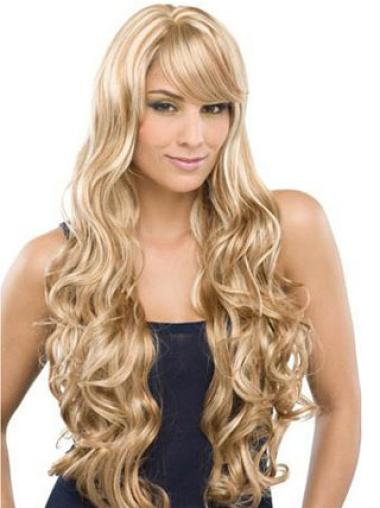 Long With Bangs Modern Human Hair Hand Tied Wigs Blonde