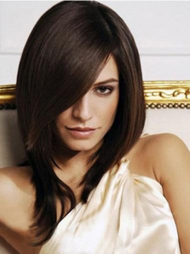 Synthetic Top Layered Brown Medium Length Capless Wigs