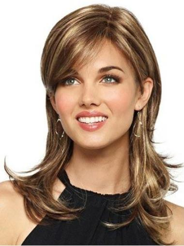 Trendy Long Layered Brown Synthetic Affordable Womens Capless Wigs