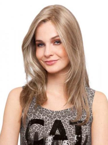 Blonde Long Without Bangs New Monofilament Human Hair Wigs Sale