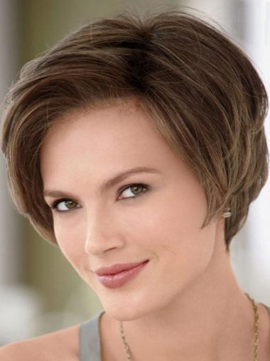 Straight Short Without Bangs Comfortable Remy Brown Human Hair Lace Wigs