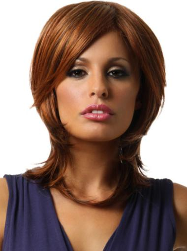 Shoulder Length Synthetic Auburn Ideal Medium Layered Wigs