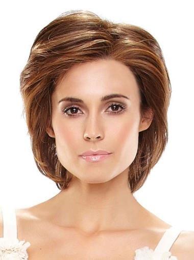 Straight Auburn Chin Length Layered Cheapest Hand Tied Human Hair Wigs