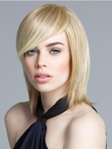 Synthetic Straight Blonde Good Bob Real Lace Front Wigs