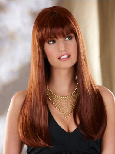 Lace Front Synthetic Straight Cheapest Long Auburn Wig