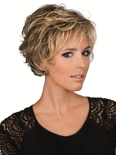 Brown Wavy Perfect Layered Remy Human Hair Short Lace Front Wigs