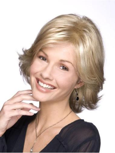 Synthetic Blonde Chin Length Classic High Quality Lace Front Wigs