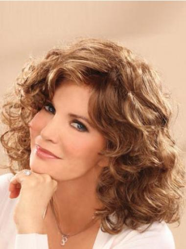 Fashion Shoulder Length Wavy Brown Classic Lace Front Wigs With Bangs