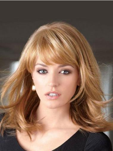 Synthetic Popular With Bangs Medium Length Blonde Wig