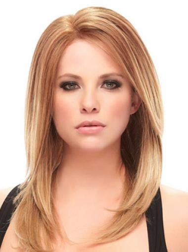 Straight Ideal Auburn Natural Color Human Hair Wigs Without Bangs