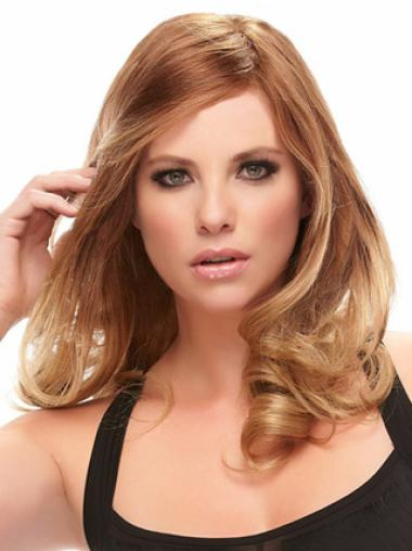 Monofilament Wavy Convenient Layered Auburn Wig Human Hair