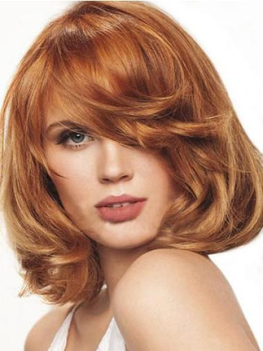 Chin Length Synthetic Auburn Bob Monofilament Wigs