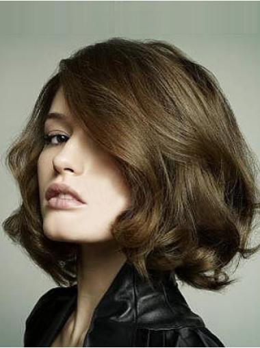 Brown Gorgeous Lace Front Bob Style Wavy Human Hair Wigs