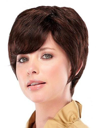 Sassy Cropped Layered Auburn Synthetic Capless Adjustable Wigs
