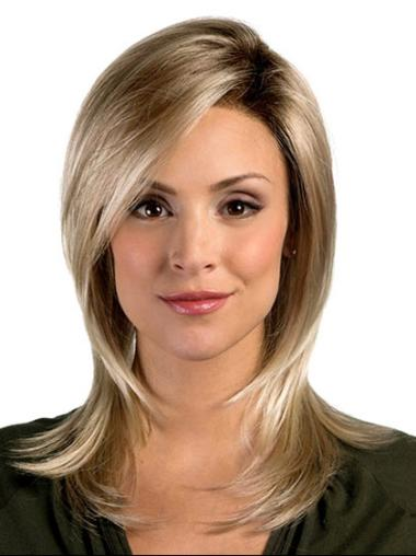 Designed Layered Straight Synthetic Shoulder Length Blonde Wigs