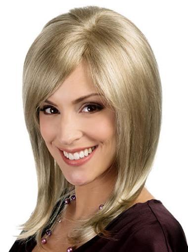 Blonde Flexibility Medium Length Monofilament Wig