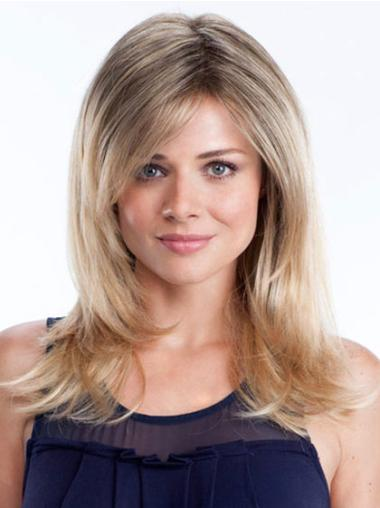 Layered Lace Front Synthetic Straight Sleek Long Blonde Wig
