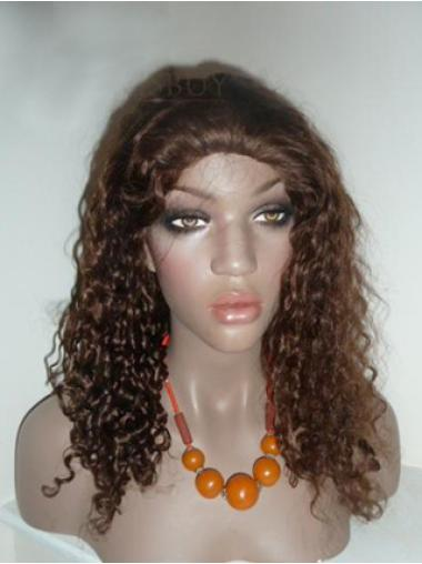 Brown Without Bangs Lace Front Wigs Curly Human Hair