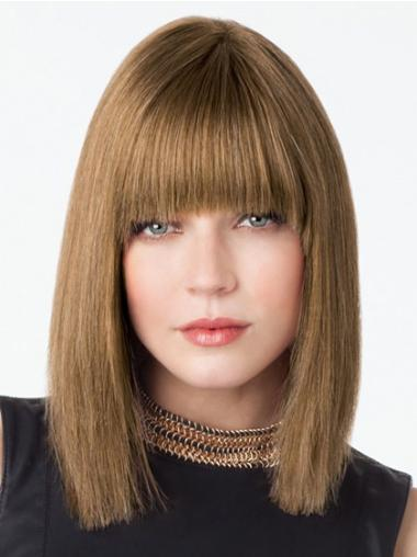Brown Straight Discount Lace Front 100% Human Hair Wigs Bobbed
