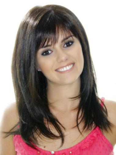 Popular Black Straight Hand Tied Long Wig With Bangs Human Hair