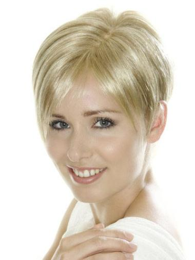 Synthetic Straight Short Natural Lace Front Wigs